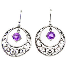925 sterling silver 2.52cts natural purple amethyst dangle earrings r36804