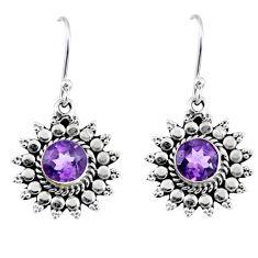 925 sterling silver 3.11cts natural purple amethyst dangle earrings r55186