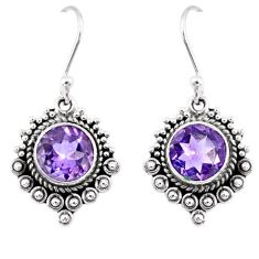 925 sterling silver 5.08cts natural purple amethyst dangle earrings r55344