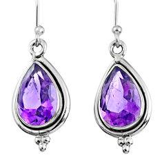 925 sterling silver 7.34cts natural purple amethyst dangle earrings r60564