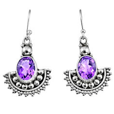 925 sterling silver 6.08cts natural purple amethyst dangle earrings r60648