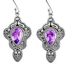 925 sterling silver 4.38cts natural purple amethyst dangle earrings r60964