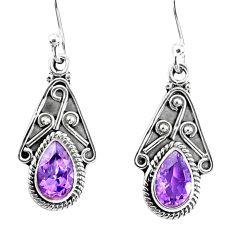 925 sterling silver 3.62cts natural purple amethyst dangle earrings r67025