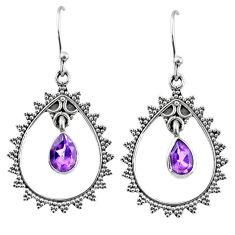 925 sterling silver 4.47cts natural purple amethyst dangle earrings r67065