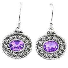 925 sterling silver 4.05cts natural purple amethyst dangle earrings r67104