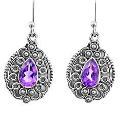 925 sterling silver 4.08cts natural purple amethyst dangle earrings r67204