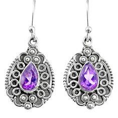925 sterling silver 3.93cts natural purple amethyst dangle earrings r67267