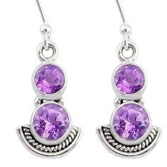 925 sterling silver 6.26cts natural purple amethyst dangle earrings r68384