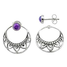925 sterling silver 1.79cts natural purple amethyst dangle earrings t8248