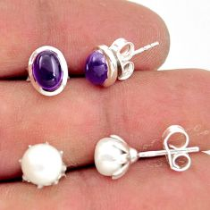 925 sterling silver 5.84cts natural purple amethyst pearl stud earrings r41288