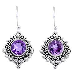 925 sterling silver 5.16cts natural purple amethyst round dangle earrings r55334