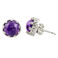 925 sterling silver 6.16cts natural purple amethyst stud earrings jewelry r38625