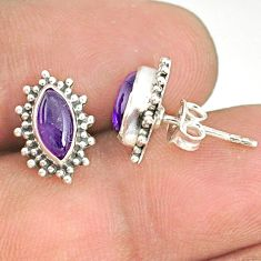 925 silver 2.94cts natural purple amethyst handmade stud earrings r76938