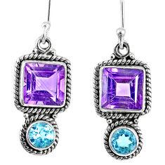 925 sterling silver 9.86cts natural purple amethyst topaz dangle earrings r59802