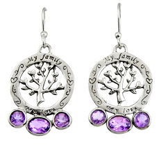 925 sterling silver 5.92cts natural purple amethyst tree of life earrings r32995