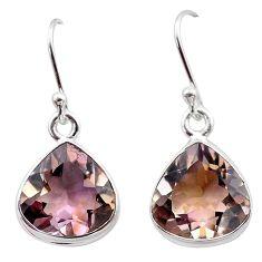 925 sterling silver 13.10cts natural purple ametrine dangle earrings t45197
