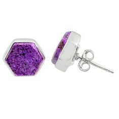 925 sterling silver 6.64cts natural purple purpurite stichtite earrings r80311