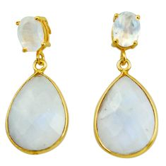 925 sterling silver 19.98cts natural rainbow moonstone 14k gold earrings r31540