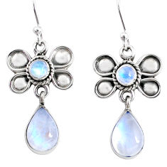 925 sterling silver 9.18cts natural rainbow moonstone butterfly earrings r66590