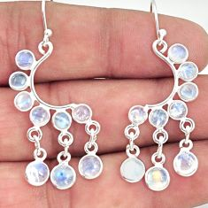 925 sterling silver 9.25cts natural rainbow moonstone chandelier earrings r33495