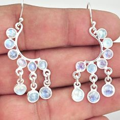 925 sterling silver 8.84cts natural rainbow moonstone chandelier earrings r33498