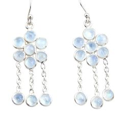 925 sterling silver 9.18cts natural rainbow moonstone chandelier earrings r33515