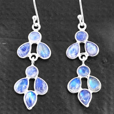 925 sterling silver 6.72cts natural rainbow moonstone chandelier earrings t4699