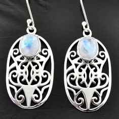 Clearance Sale- 925 sterling silver 6.56cts natural rainbow moonstone dangle earrings d40057