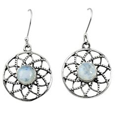 925 sterling silver 4.92cts natural rainbow moonstone dangle earrings d40140
