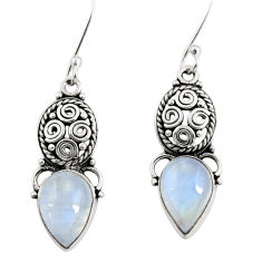 Clearance Sale- 925 sterling silver 8.31cts natural rainbow moonstone dangle earrings d40493