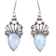 Clearance Sale- 925 sterling silver 8.05cts natural rainbow moonstone dangle earrings d41004