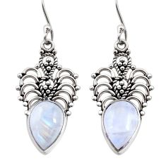 Clearance Sale- 925 sterling silver 8.05cts natural rainbow moonstone dangle earrings d41015