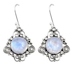925 sterling silver 10.23cts natural rainbow moonstone dangle earrings d41019