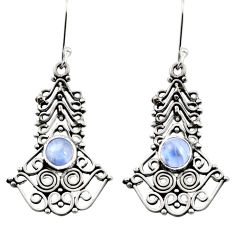 Clearance Sale- 925 sterling silver 2.74cts natural rainbow moonstone dangle earrings d41036