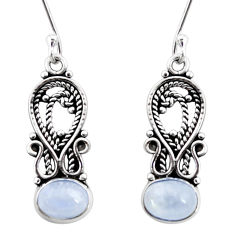 925 sterling silver 4.28cts natural rainbow moonstone dangle earrings d41076