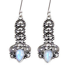 Clearance Sale- 925 sterling silver 4.92cts natural rainbow moonstone dangle earrings d41080