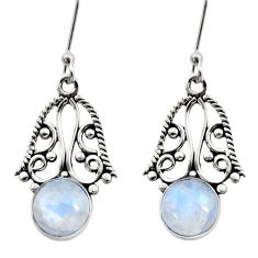 Clearance Sale- 925 sterling silver 4.69cts natural rainbow moonstone dangle earrings d41098