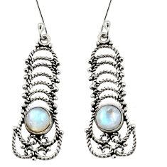Clearance Sale- 925 sterling silver 2.44cts natural rainbow moonstone dangle earrings d41210