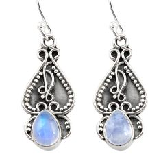 925 sterling silver 3.56cts natural rainbow moonstone dangle earrings d45808