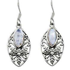 925 sterling silver 6.03cts natural rainbow moonstone dangle earrings d46935