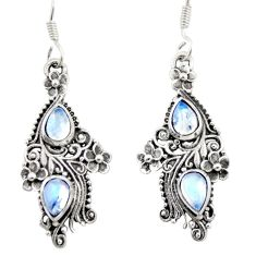 925 sterling silver 4.37cts natural rainbow moonstone dangle earrings d47560