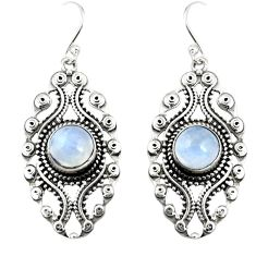 925 sterling silver 5.62cts natural rainbow moonstone dangle earrings r19748