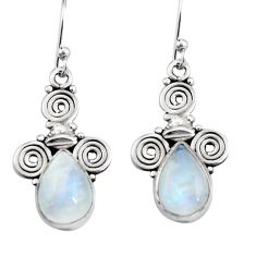 925 sterling silver 4.92cts natural rainbow moonstone dangle earrings r19880