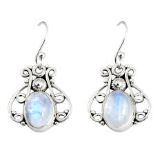 925 sterling silver 4.22cts natural rainbow moonstone dangle earrings r19895