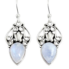 925 sterling silver 4.70cts natural rainbow moonstone dangle earrings r19898