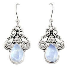 925 sterling silver 4.93cts natural rainbow moonstone dangle earrings r19918