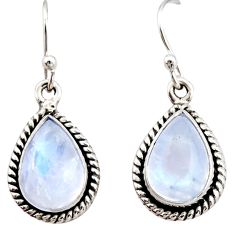 925 sterling silver 8.44cts natural rainbow moonstone dangle earrings r21527