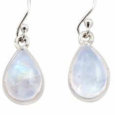 925 sterling silver 6.23cts natural rainbow moonstone dangle earrings r21547