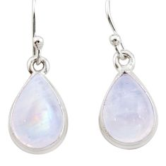 925 sterling silver 6.25cts natural rainbow moonstone dangle earrings r21554