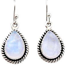 925 sterling silver 8.08cts natural rainbow moonstone dangle earrings r21560